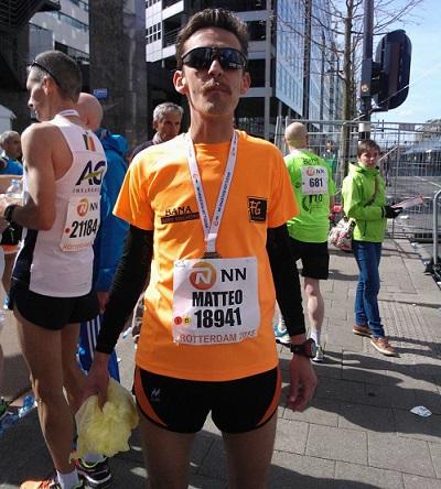 Matteo Garza alla maratona d Rotterdam